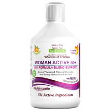 Multivitamine Lichide WOMAN ACTIVE 50+ pentru Femeile peste 50 Ani cu 131 Ingrediente: Vitamine + Minerale + Aminoacizi + Bio Active Life Blend + Areds 2 – Produs Vegan – 500ml